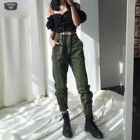 ingrosso jogger pantaloni donne esercito-Pantaloni alta Camouflage Punk Pantaloni Army Donne Harem Pants Camo Streetwear allentato Zipper Black Fly Cargo Pants Pantaloni Donne Capris