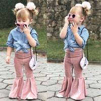 baby samt kleidung groihandel-Einzelhandel Babys goldener Samt Flare Pants Jogginghose Hose Yoga-Gamaschen-Strumpfhosen Kinder-Designer-Kleidung Hose Mode Kinderkleidung