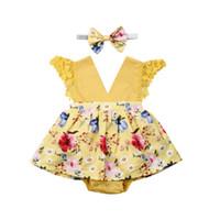 cintas de flores de niña bebé amarillo al por mayor-2019 recién nacido amarillo floral vestido del mameluco del bebé niña del vestido del mameluco de la flor Traje diadema 2pcs conjunto de ropa