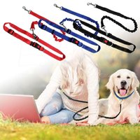Wholesale personalized dog leashes resale online - Elastic Adjustable Sports Pet Walking Leash Hands Free Dog Leashes Waist Pet Dog Leash Running Jogging Puppy Dogs Lead Collar DH0467