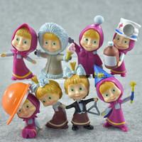 juegos de muñecas rusas al por mayor-8 pcs / set de alta calidad ruso MashaBear figuras PVC acción juguetes para niños cumpleaños / regalo de Navidad
