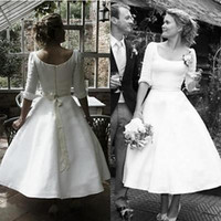 Wholesale wedding dress belts sashes navy for sale - Group buy Vintage Tea length s Wedding Dresses with Half Sleeve Plus Size Sash Belt Country Garden Short Beach Wedding Gown