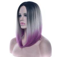pelo púrpura bob al por mayor-Soowee Hair Short Bob pelucas 12 colores pelo sintético negro a gris púrpura Ombre para mujeres peluca cosplay peluca recta