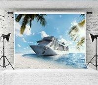rüya gören deniz toptan satış-Rüya 7x5ft Tropikal Cruise Fotoğraf Arka Plan Mavi Gökyüzü Deniz Plaj Fotoğraf Zemin Fotoğrafçı Çocuklar için Ateş Stüdyo Prop