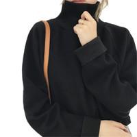 suéter de cuello alto de murciélago al por mayor-Daddy Chen para mujer jersey de cuello alto suéter de invierno cálido ocasional de punto Jumper Vrouwen Batwing manga completa de ganchillo suelta capa