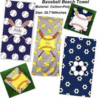 Wholesale blankets microfiber polyester for sale - Group buy Baseball Beach Towel Rectangle Softball Football Sport Towels Microfiber Mats Blankets Superfine Fiber Beach Blanket cm GGA1579