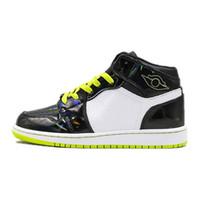 tecido de couro metálico venda por atacado-Classic 1 Shoes Mid SE GS Metallic Basquetebol 1s Chameleon Metallic couro preto Designer verde sapatos Homens Mulher Sports Trainers