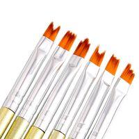 patrones de pluma de gel al por mayor-100 sets Nuevo 6 unids / set Nail Art Brushes Acrílico Gel Flores Patrón de Pintura Cepillo de Uñas de manicura pintado pincel pétalo Dibujo Pluma