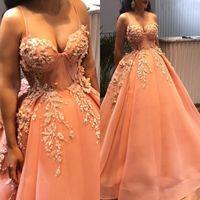 vestidos de laranja para o baile venda por atacado-Arábica Arábica Laranja Prom Vestidos Longos 2019 Com Delicado Apliques 3D Flor Frisada Prom Vestidos Querida Plus Size vestido de Baile