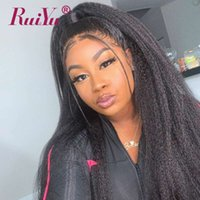 yaki malais plein de dentelle achat en gros de-Kinky Straight Wigs 360 Full Lace Perruques de cheveux humains avec des cheveux de bébé sans colle Lace Front perruques pour les femmes noires perruque malaisienne Yaki Lace