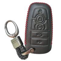 ford fusion keys al por mayor-Cubierta de cuero negro Key Fob Case Protector Titular de la chaqueta para 2017 Ford Fusion Edge F250 F350 F450 F550 2018 Explorer Expedition 5 botones