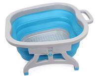 pés de silicone de alta qualidade venda por atacado-Azul e rosa de silicone de cor dobrável portátil de alta qualidade detox foot spa massagem pé lavatório