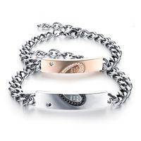 çift zincirler sevgililer günü toptan satış-Yüksek Kaliteli Lüks Çift Bilezik Titanyum Paslanmaz Çelik Zincir Lover Jewel Siyah Altın Renk Düğün Yıldönümü Sevgililer Hediye GX793