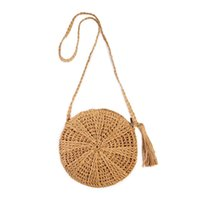 häkeln crossbody beutel großhandel-ABDB-Rattan Crochet Straw Woven Basket Handtasche Bali Round Circle Crossbody Shopper Strand Einkaufstasche
