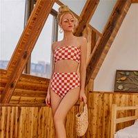 ingrosso vestito di bagno di colore rosso-Costume da bagno in tartan rosso per costume da bagno a due pezzi di marca da donna per bikini da donna estate mare