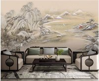 Wholesale mountain decor resale online - 3d wallpaper custom photo mural Chinese mountain lake landscape painting living room home decor d wall murals wallpaper for walls d