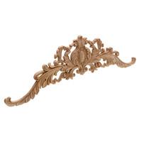 hölzerne pflanze großhandel-Vintage Pflanze Holz geschnitzt Ecke Applique schmücken Rahmen Kabinett Kamin Tür Möbel dekorative Holzfiguren