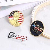 strass broche coeur achat en gros de-Trump Broche Pins Lettre strass Brillante Glitter Femmes Mode Brooches Crystal Heart Party Pins Favor cadeau IIA76 Brooches