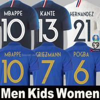 uzun kollu futbol forması erkek toptan satış-Fransa futbol formaları GRIEZMANN MBAPPE POGBA 100th yıldönümü 100 yıl 2019 2020 EURO Uzun Kollu forması KANTE PAVARD Tayland Erkekler Çocuklar Kadınlar gömlek Üniformalar