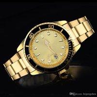caixa de mergulho de aço venda por atacado-Relógios dos esportes de quartzo do mergulho dos homens A prata luxuosa e o caso do ouro olham relógios de pulso completos do negócio dos homens dos relógios de aço da forma