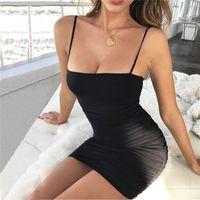 mulher sexy do quadril venda por atacado-Novas Mulheres Roupas Sem Mangas Sexy Sling Vestido Cor Sólida Sexy Envoltório Do Quadril Vestidos de Designer Vestido de Festa Mini Vestido Sexy Clube Vestidos