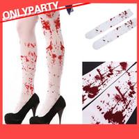 ingrosso calze gotiche-Adulti vestito operato dalle signore sangue sanguinea stampa Calze autoreggenti Halloween Gothic Spaventoso dell'infermiera Zombie costume cosplay Terror