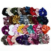 mädchen scrunchies großhandel-20 Stück Pferdeschwanz Halter Haargummis Samt elastische Haarbänder Haargummis Seile Scrunchie für Frauen oder Mädchen 50 Farben