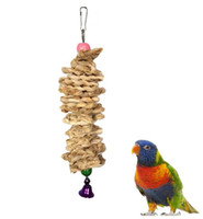 Wholesale bird wooden swing for sale - Group buy Bird toys Parrot Toy with Bell Natural Wooden Grass Chewing Bite Hanging Cage Swing Climb Chew Toys