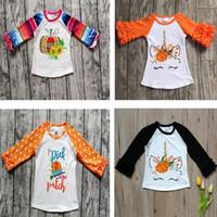 dessins de t-shirt filles achat en gros de-fille enfants Halloween vêtements T-shirt à manches longues col rond Pumpkin Unicorn Design shirt vêtements fille 95% coton chemises fille