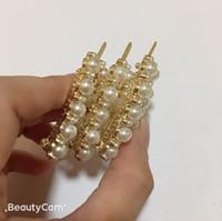 haarnadel perlen groihandel-4.5X3CM Arbeiten Sie Perlen-Legierung C Hairpin ein Wort Clip Brief Haarclip, für Damen Kollektion Luxus-Design-Schmuck Kopfschmuck VIP-Geschenk