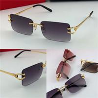 tasarım güneş gözlüğü erkek toptan satış-En çok satan toptan açık erkek moda güneş gözlüğü 3456631 çerçevesiz kare küçük çerçeve retro modern avant-garde tasarım uv400 gözlük