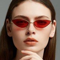 черные розовые очки рамы оптовых-2019 винтажная мода маленький кошачий глаз Солнцезащитные очки женщины металлический каркас черный красный розовый Cateye солнцезащитные очки Женщины мужчины партия очки UV400