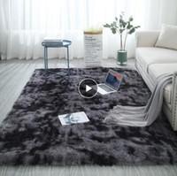 Wholesale living hair resale online - European long hair fashion bedroom carpet bay window bedside mat washable personality blanket Gradient color living room rug