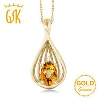 ingrosso collana oro giallo zaffiro-GemStoneKing Collana con ciondolo di diamanti in zaffiro giallo naturale ovale da 0,55 ct, gioielli raffinati in oro giallo 10K per donne