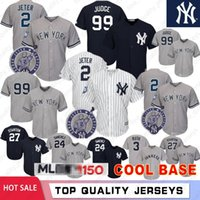 ingrosso baseball-Yankees 99 Aaron Judge 2 Derek Jeter 27 Giancarlo Stanton 150th Maglie da baseball New York 24 Gary Sanchez Yankees Loghi per ricamo Cool Base