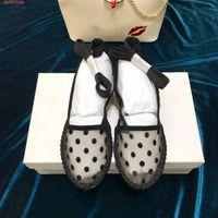 ingrosso nastro di rete a rete-fashion women Le reti Slingback pumps con Mesh Dot in tessuto tecnico nero con scarpe piatte donna piatte taglia 34-40 cm