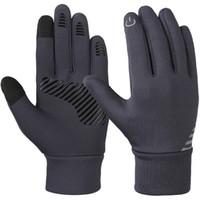 hava eldivenleri toptan satış-Vbiger Gri 4-10 Yaşında Çocuklar Kış Soğuk Hava Eldiven kaymaz Dokunmatik Ekran Eldiven Yumuşak Açık Spor Eldiven