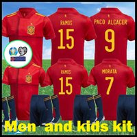 Wholesale spain soccer jersey kids for sale - Group buy 2020 Spain Kids kit home football shirt PACO ALCACER SERGIO SUSO RAMOS A INIESTA ISCO MORATA SERGIO Spain Man kit away soccer jersey