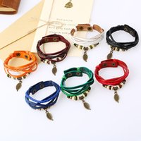 Wholesale brass bell pendants resale online - 19 styles Hot Bohemia jewelry Men Bracelets Ceramic Leather Bracelet Bangles for Women Colorful Bead Leaf Pendant Bell pksp2