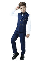 casaco de meninos venda por atacado-Menino Terno Pico Lapela Custom Made Double Breasted Terno Do Miúdo De Casamento / Baile / Jantar / Lazer / show Crianças terno (Jaqueta + Calça + Camisa + Gravata) M1314