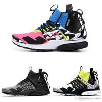 pembe sıcak sutyen toptan satış-2018 Yeni Varış ACRONYM Lab Presto Orta Koşu Ayakkabıları Erkekler Kadınlar Için Racer Pembe Sarı Gri Sıcak Lava Prestos Ayakkabı Spor Eğitmenler Sneakers