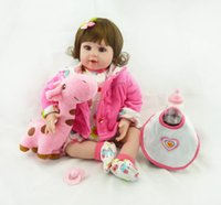 Wholesale baby dolls wigs resale online - Bebe Reborn reborn baby doll with wig hair soft real vinyl silicone touch gift for your children on Birthday