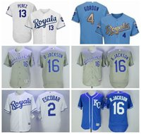 ingrosso luce blu reale-Maglia da uomo Kansas City Bo Jackson Royals Alcides Escobar Salvador Perez Alex Gordon Light Blue 2015 World Series Champions Jersey