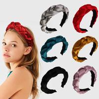 Wholesale hair twist stick resale online - Velvet Twist Hair Sticks Women Cute Knot Headband Lady Travel Solid Color Headwear Girls Party Hair Accessories TTA1567