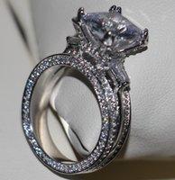 eiffel schmuck großhandel-Größe 5-11 Hot Luxury choucong Schmuck 925 Sterling Silber Weißer Topas CZ Diamant Edelsteine Hochzeit Eiffelturm Frauen Ring für Liebhaber Geschenk
