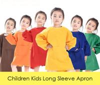 renkli önlükler toptan satış-Çocuk Çocuk Uzun Kollu Önlük Çizim Boyama Uygulama için Su Geçirmez Önlük Fırça Boyama Önlük Düz Renk