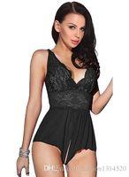 mais tamanho sem crotch venda por atacado-Lingerie Sexy Crotchless Leotard Nightwear Rendas Minissaia Babydoll Plus Size