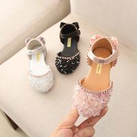 sapatos coreanos venda por atacado-2019 verão sapatos estilo Coréia princesa crianças sapatos vestido da dança gravata borboleta para meninas moda brilhantes diamantes apartamentos