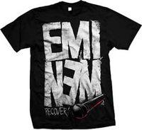 micrófonos chinos al por mayor-Eminem-Recovery Microphone-X-Large Camiseta negra Top de moda de algodón para adultos Estilo chino Nuevo 2018 Hot Summer Casual Hipster camiseta