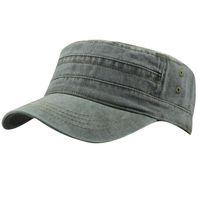 eski ordu şapkaları toptan satış-Mens Womens 100% Pamuk Suumer Ayarlanabilir Dimi Kolordu Düz Üst Ordu Düz Vintage Cadet Koşucu Golf Spor Askeri Beyzbol Şapkası Şapka